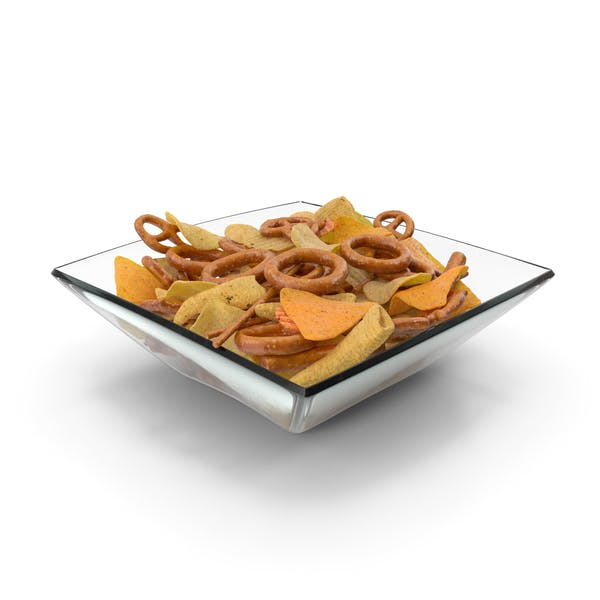Square Bowl With Mixed Salty Snacks