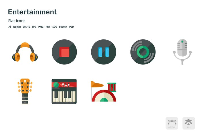 Thumbnail for Entertainment Flat Colored Icons