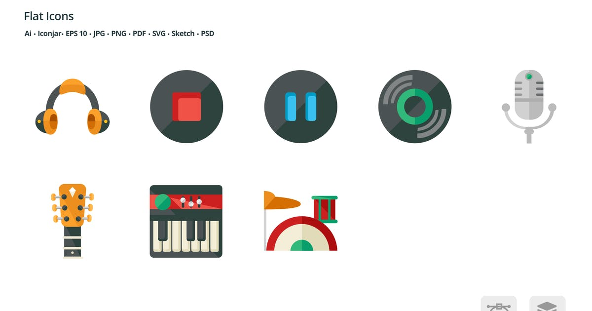 Download Entertainment Flat Colored Icons by roundicons