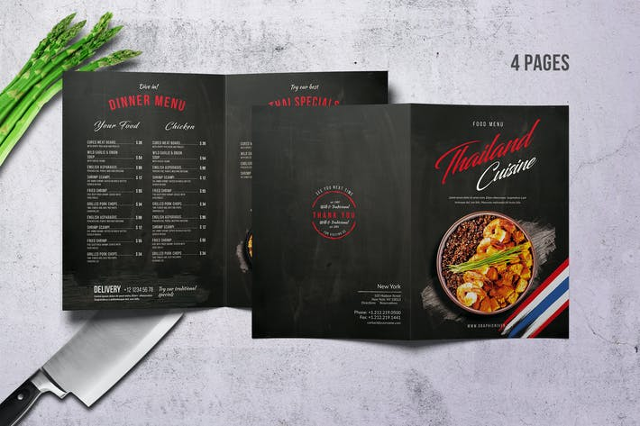 Thumbnail for Thai Cuisine Bifold A4 & US Letter Food Menu