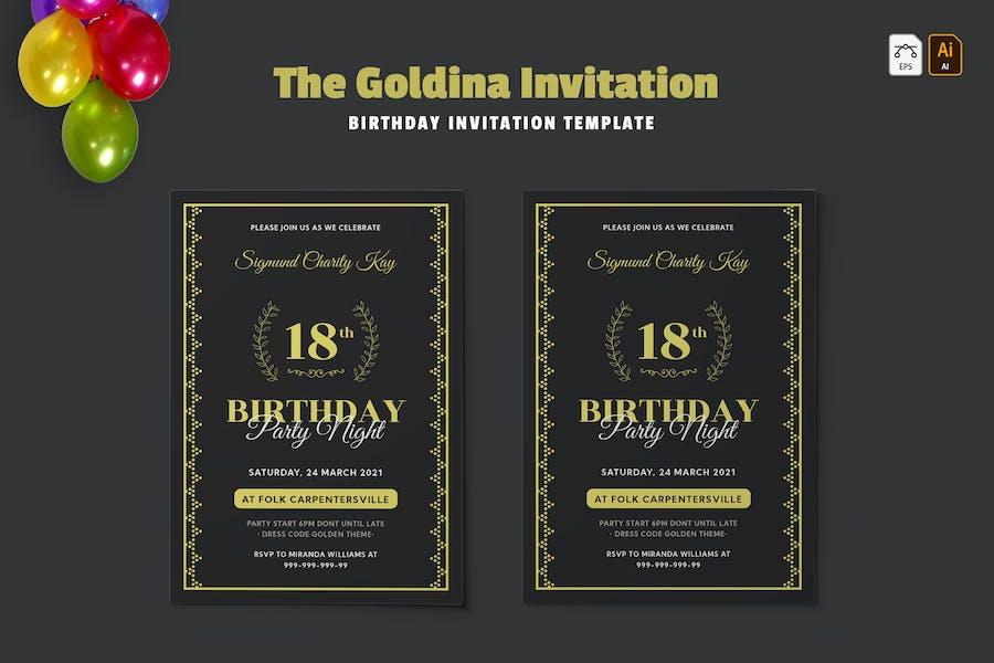Goldina | Birthday Invitation
