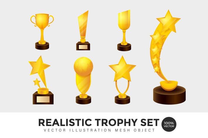 Thumbnail for Realistic Trophy Set Vector Mesh Illustration