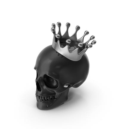 Black Skull With Silver Crown