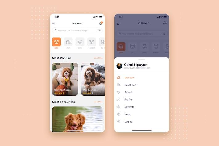Thumbnail for Pet social App mobile UI Concept