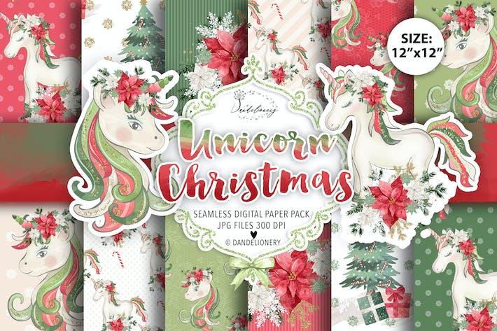 "Thumbnail for Unicorn Christmas digital paper pack 12""x12"""