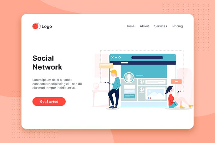 Thumbnail for Social Network flat concept for Landing page