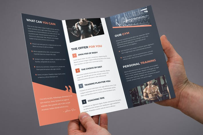 thumbnail for brochure gym tri fold - Brochure Templates Envato