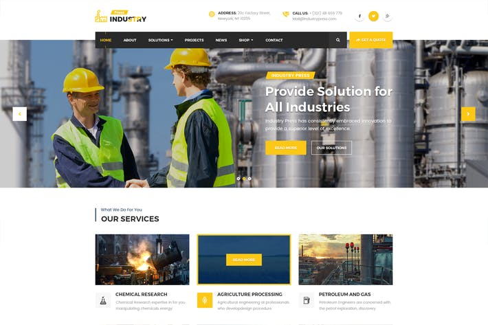 Thumbnail for Industry Press - Factory Business PSD Template