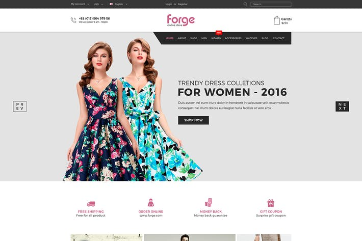Thumbnail for Forge - eCommerce PSD Template