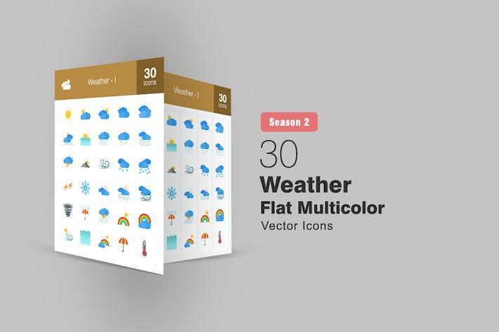 30 Wetter Flach Multicolor Icons Season II