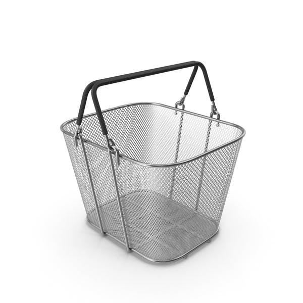 Silver Shopping Wire Mesh Basket with Handles