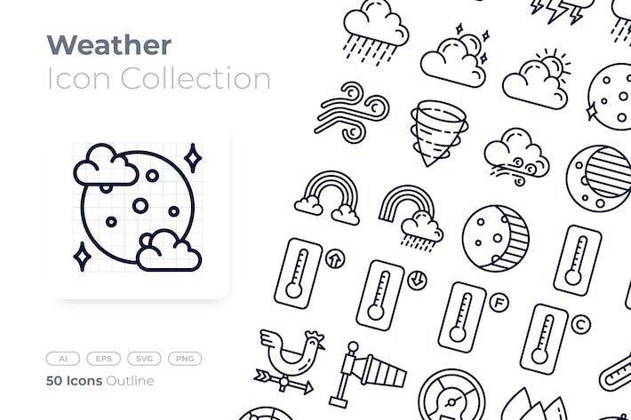 Wetter Umriss-Symbol
