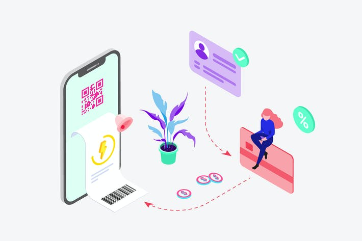 Payment of Electricity by Digital Wallet Isometric