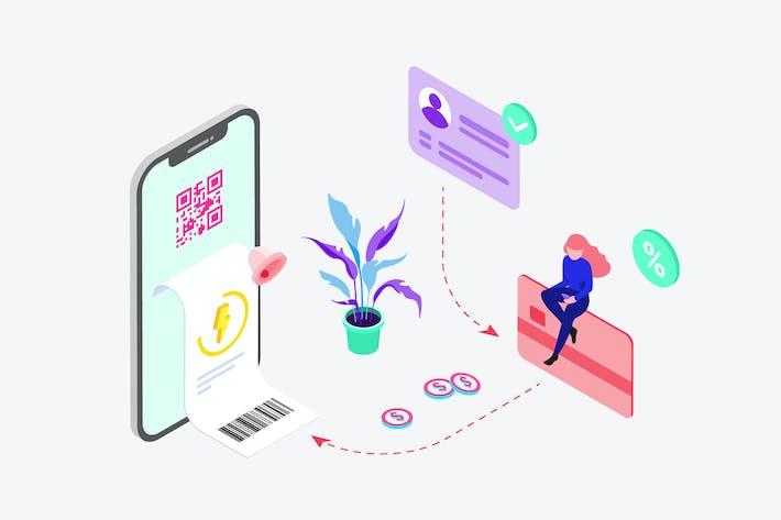 Zahlung von Strom durch Digital Wallet Isometric