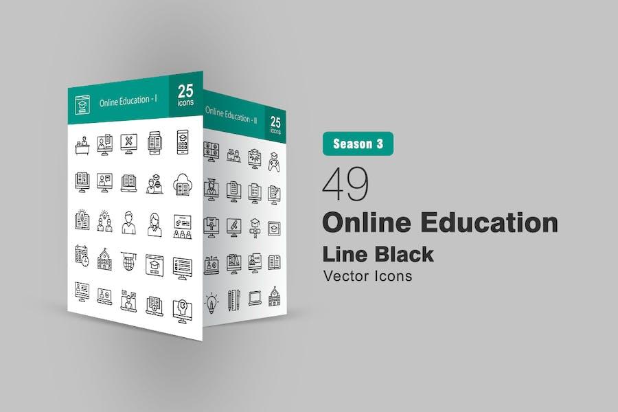 49 Online-Bildungs-Line-Symbole