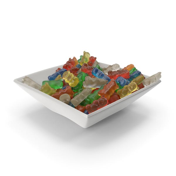 Square Bowl with Gummy Bears