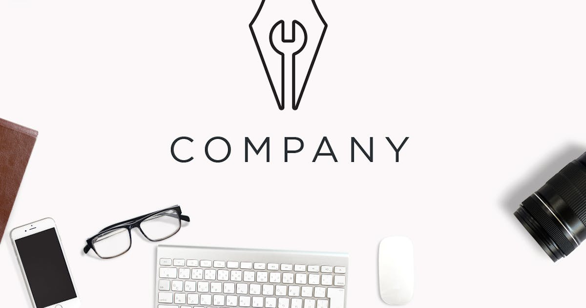 Download Minimalistic Pen and Wrench Negative Space Logo by Suhandi