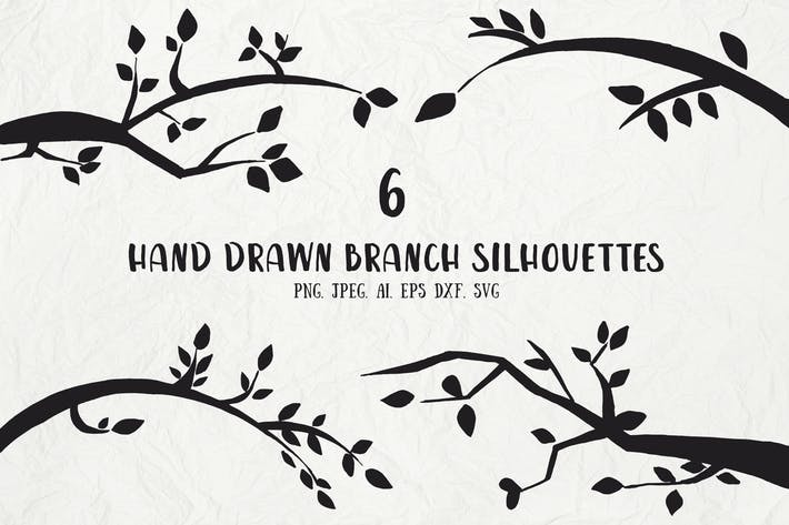 Thumbnail for 6 Hand Drawn Branch Silhouettes
