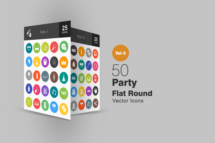 Thumbnail for 50 Party Flat Round Icons