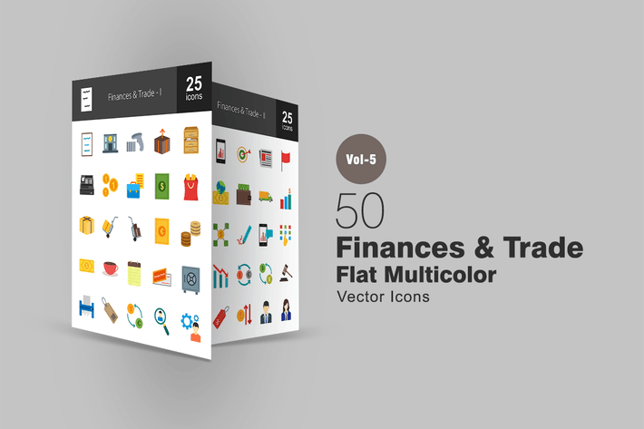 Thumbnail for 50 Finances & Trade Flat Multicolor Icons