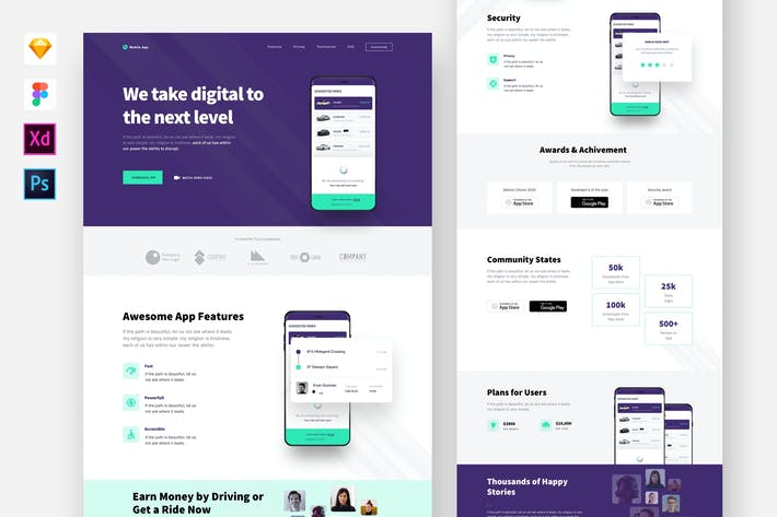 Thumbnail for Mobile Application Website Template