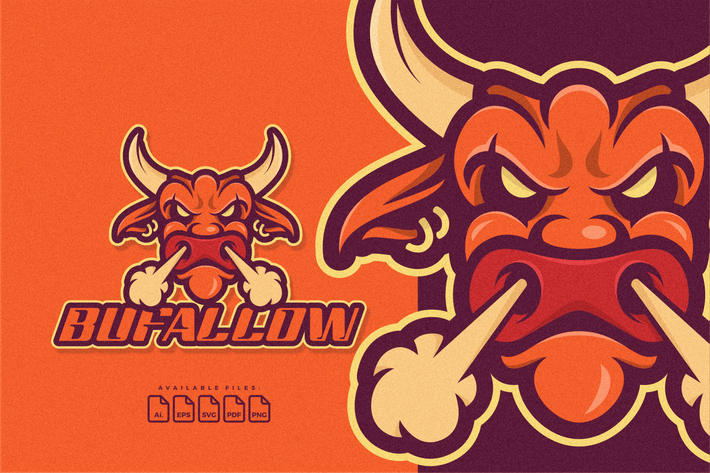 Thumbnail for Logo Mascot Head Of Buffalo or Bulls