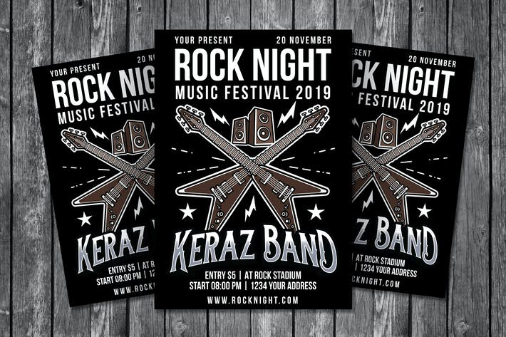 Cover Image For Rock Night Flyer Template