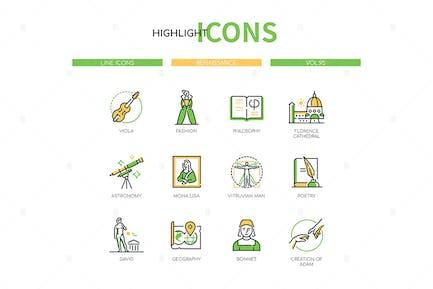 Renaissance - Line Design Style Icons Set