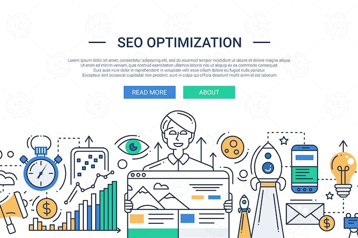 Thumbnail for SEO optimization - line design illustration