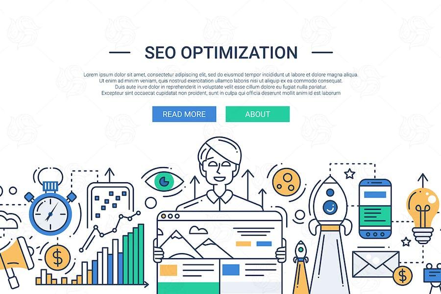 Optimización SEO - ilustración de Diseño de línea