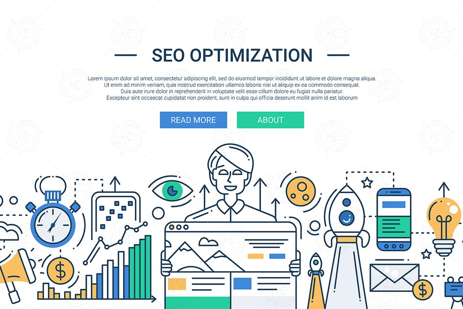 Download Illustration of modern SEO optimization line flat by BoykoPictures
