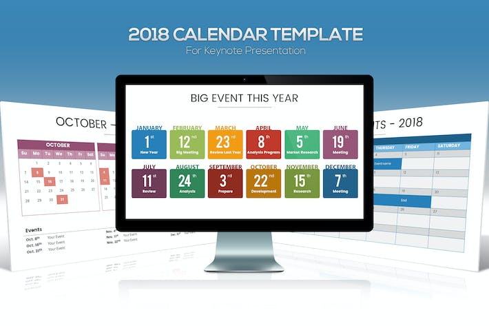Thumbnail for 2018 Calendar Keynote Template
