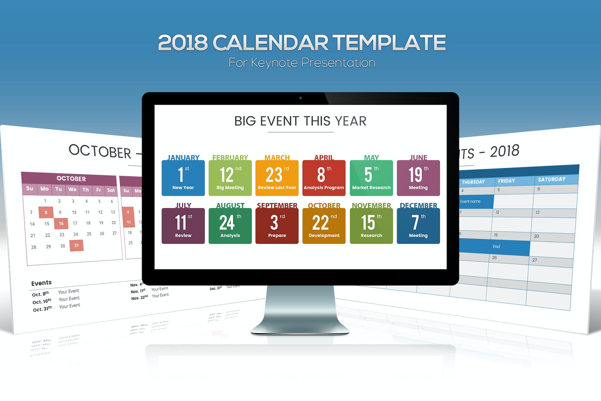 2018 Calendar Keynote Template By Slidefactory On Envato Elements