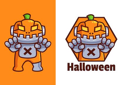 Pumpkin Robot Cartoon