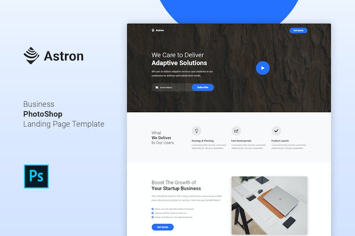 Thumbnail for Astron - Business PSD Landing Page Template