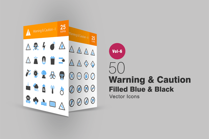 Thumbnail for 50 Warning & Caution Blue & Black Icons