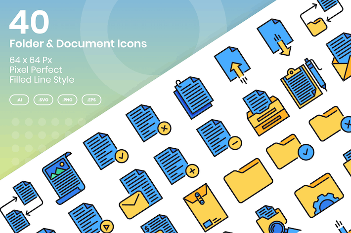 Thumbnail for 40 Folder & Document Icons Set - Filled Line