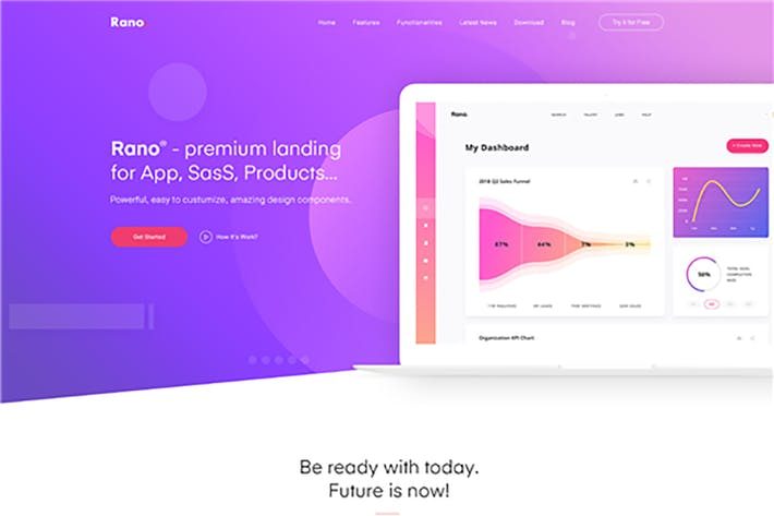 Thumbnail for Rano - Landing Page HTML Template