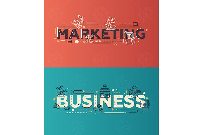 Thumbnail for Marketing, Business - flat design lettering