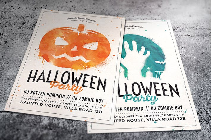 Watercolor Halloween Party Flyer by GraphicGoods on Envato Elements