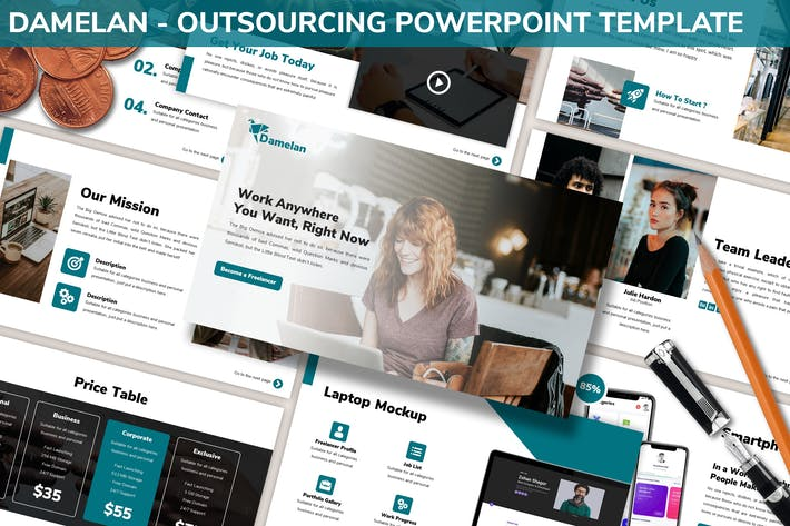 Thumbnail for Damelan - Powerpoint-Vorlage Outsourcing