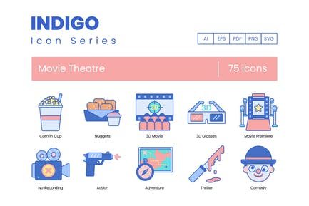 75 Movie Theater Line Icons