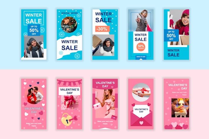 Weihnachten Verkauf und Liebe Instagram Stories Vorlage