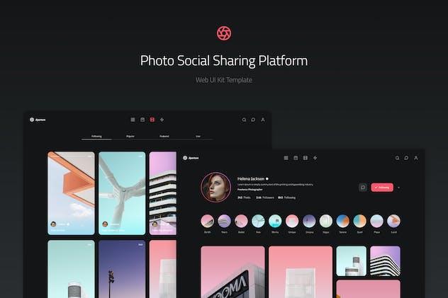 Photo Social Sharing Platform Web UI Kit Template
