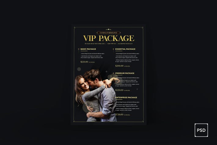 Thumbnail for Bar Club VIP Package Poster PSD Template