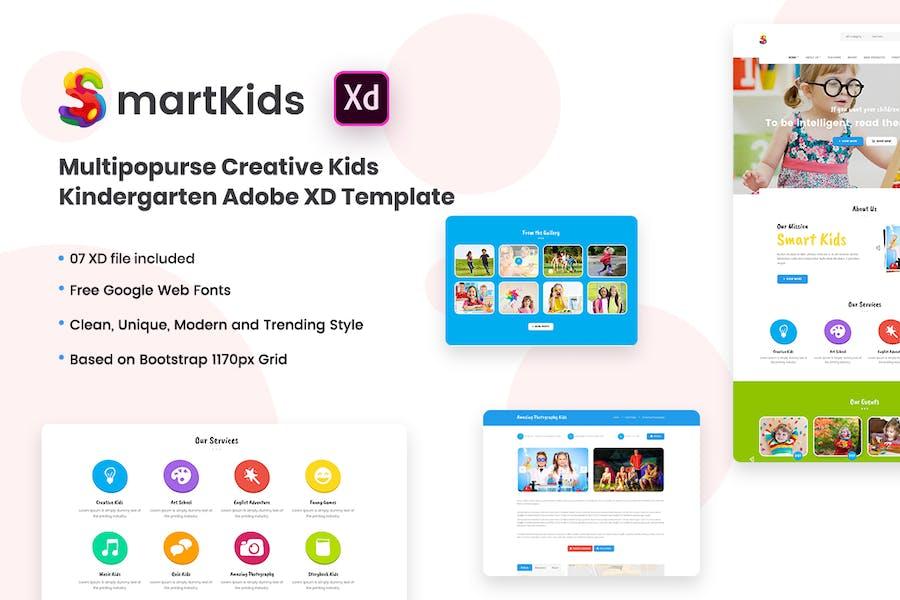 Smart Kids - Kindergarten Adobe XD Template