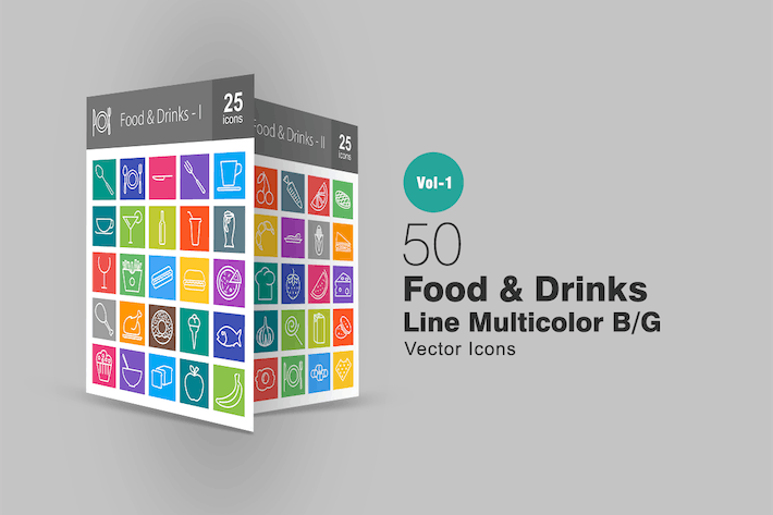 Thumbnail for 50 Food & Drinks Line Multicolor Icons