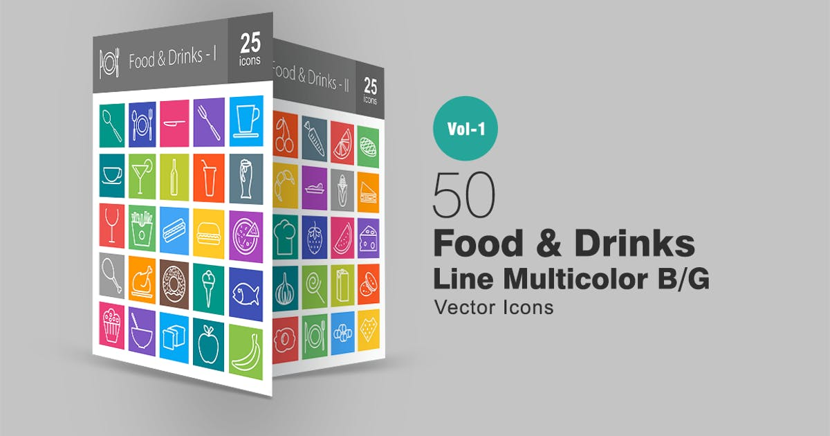 50 Food & Drinks Line Multicolor Icons by IconBunny