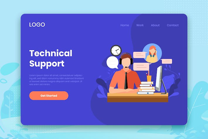 Thumbnail for Technical Support landing page template