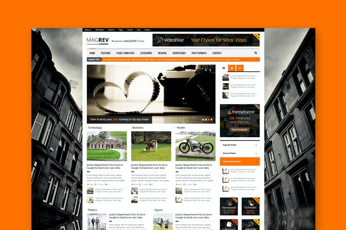 Cover Image For Magrev - Magazine & Corporate PSD Theme